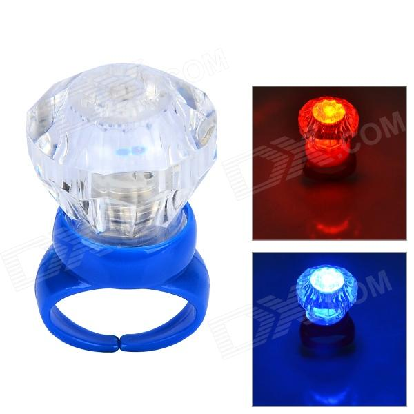 Acrylic Diamond Shaped Red / Blue LED Flashing Finger Ring - Blue (3 x AG3)
