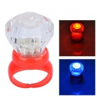 Acrylic Diamond Shaped Red / Blue LED Flashing Finger Ring - Red (3 x AG3)
