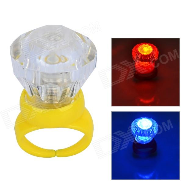 Acrylic Diamond Shaped Red / Blue LED Flashing Finger Ring - Yellow (3 x AG3)