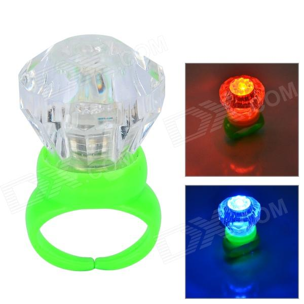 Acrylic Diamond Shaped Red / Blue LED Flashing Finger Ring - Green (3 x AG3)