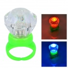 Acryl Diamant Shaped Red / Blue LED Blitzen-Finger-Ring - Grün (3 x AG3)