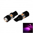 T10 / W5W 4W 300lm 4-5050 + 1-COB LED Purple Light Car Headlamp / Clearance Lamp (12V / 2 PCS)
