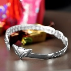 Woman's Stylish Fox Head Detail Silver Plated Brass Bracelet - Silver