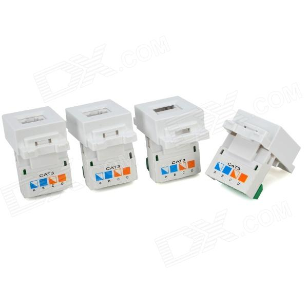 RJ11 Wall Socket Panels / Voice Modules w/ AMP Interface - White + Green (4 PCS) eia uus kahe näoga jumal
