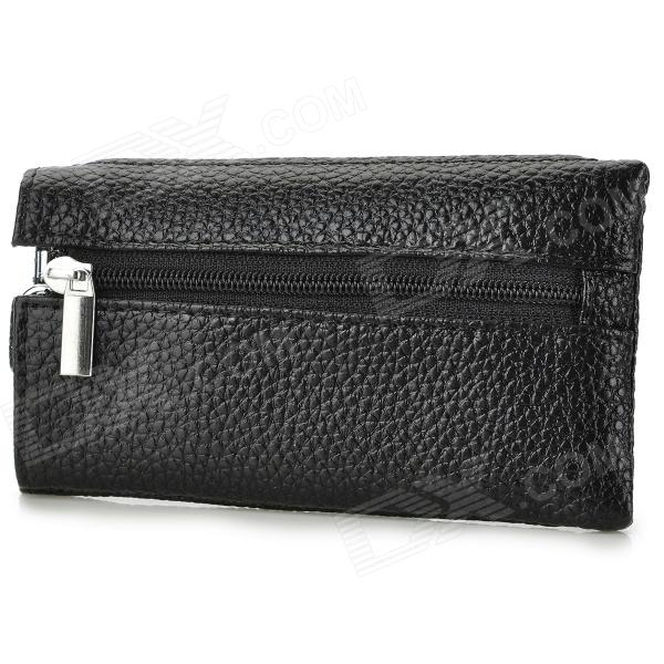 M0882 Convenient Portable Key Ring Split Sheep Skin Bag - Black