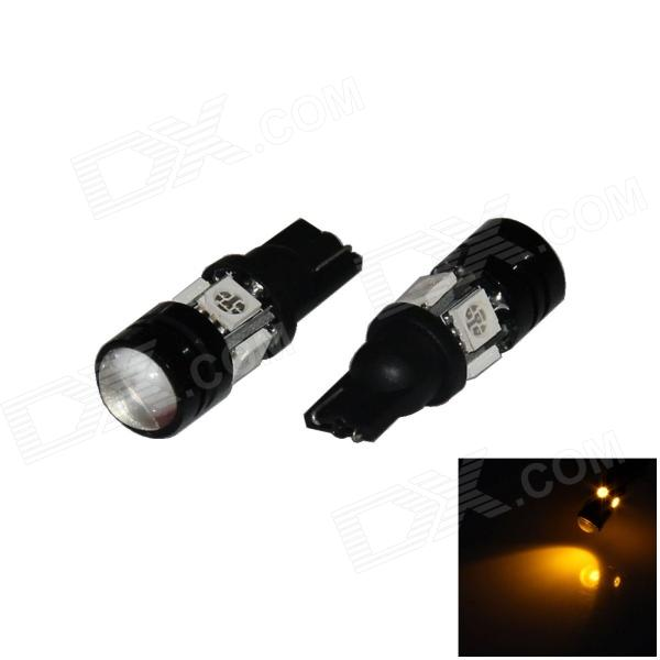 T10 / W5W 4W 300lm 4-5050 + 1-COB LED Yellow Light Car Headlamp / Clearance / Side Lamp (12V/ 2 PCS)