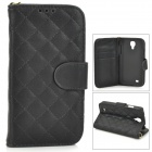 Protective Flip Open PU Case w/ Stand / Card Slots for Samsung S4 - Black