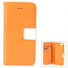 Protective Flip Open PU + TPU Case w/ Card Slots / Strap for IPHONE 5 / 5S - Yellow