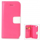 Protective Flip Open PU + TPU Case w/ Card Slots / Strap for IPHONE 5 / 5S - Deep Pink