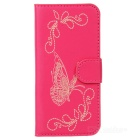 Butterfly Pattern Protective PU + Plastic Flip Open Case w/ Card Slots / Strap for IPHONE 5 / 5S