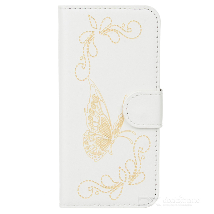 Butterfly Pattern Protective PU + Plastic Flip Open Case w/ Card Slots / Strap for IPHONE 5 / 5S plaid pattern protective pu flip open case w stand card slots for iphone 5 5s white