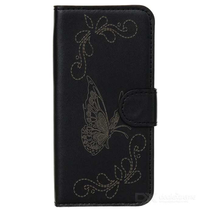 Butterfly Pattern Protective PU + Plastic Flip Open Case w/ Card Slots / Strap for IPHONE 5 / 5S flowers pattern protective pu tpu flip open case w card slots