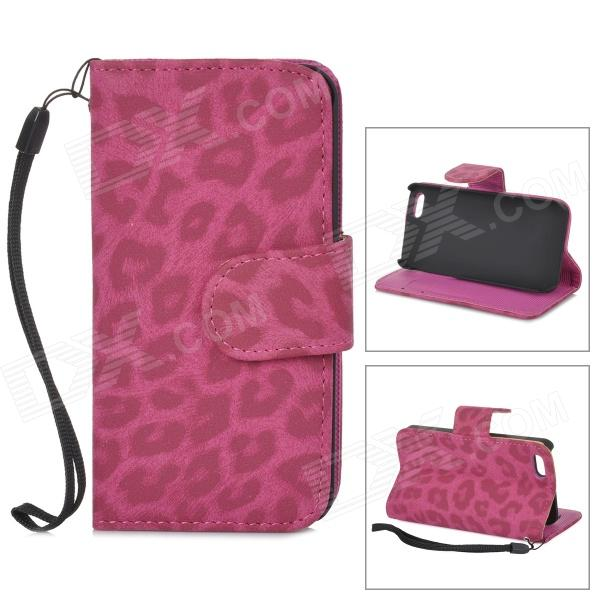 все цены на CLAD-035 Protective Leopard Pattern PU Leather Case w/ Card Slot for IPHONE 5 / 5s - Deep Pink онлайн