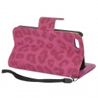 CLAD-035 Beskyttelses Leopard Pattern PU Leather Case w / kortspor for iPhone 5 / 5s - Deep Pink