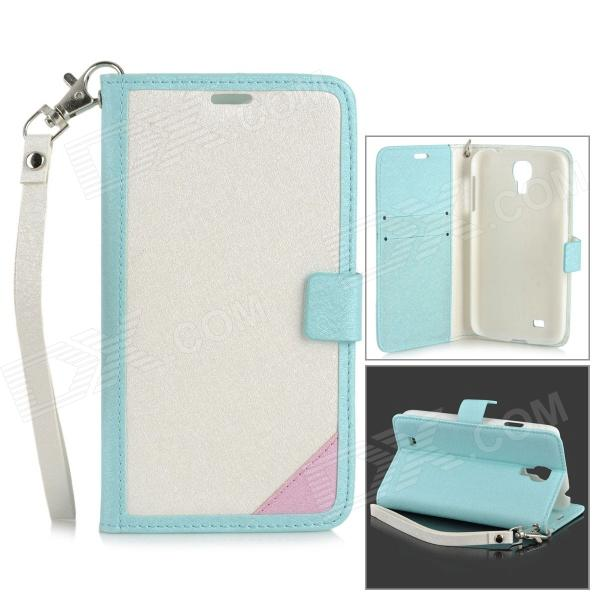 Protective Flip Open PU Case w/ Stand / Card Slots / Strap for Samsung S4 i9500 - White + Light Blue protective flip open pu case w stand card slots strap for samsung galaxy note 3 n9000 white