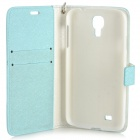 Protective Flip Open PU Case w/ Stand / Card Slots / Strap for Samsung S4 i9500 - White + Light Blue