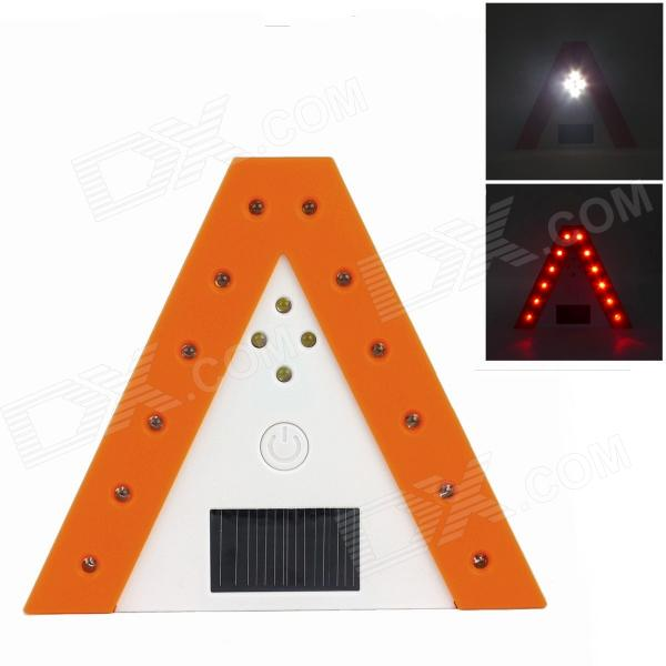 Solar-powered Triangle Warning Light - Orange + White (1 x 500mAh Li-Battery)
