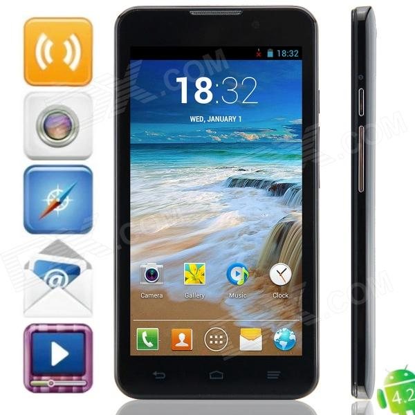 C1000 MTK6572 Dual-core Android 4.2.2 WCDMA Bar Phone w/ 5.0, 512MB RAM, 4GB ROM, GPS - Black jiake f1w 5 0inch capacitive touch screen mtk6572 dual core 1 2ghz smartphone 512mb 4gb 2 0mp 0 3mp android 4 2 os 3g gps with protective case black