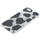 Protective Cow Grain Plastic Back Case for IPHONE 5 / 5s - White + Transparent + Multi-Colored
