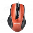 Kingdeny Universal USB Wired 1600dpi LED Mouse - Black + Golden Orange