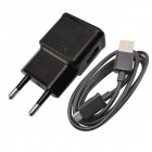 AC Power Charger Adapter + Micro USB Cable for Samsung / HTC + More - Black (EU Plug)