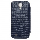TOTALSTAR TS-05-04 Mirror Style Front Cover w/ Leather Back Case for Samsung i9500 - Sapphire Blue