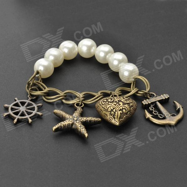 UBEAUTY 8004 Fashionable Sweet Starfish + Anchor Beads Charm Bracelet - White + Brass trendy beads anchor decorated bracelet for women