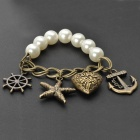 UBEAUTY 8004 Fashionable Sweet Starfish + Anchor Beads Charm Bracelet - White + Brass