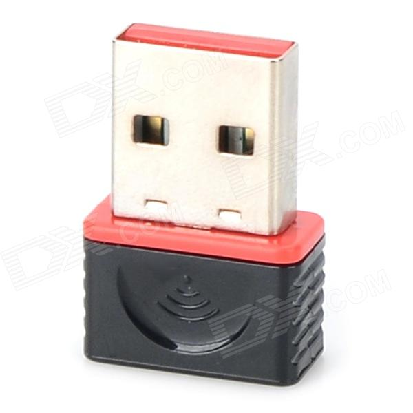N2721 Mini Portable USB 2.0 WiFi WLAN Card - Black + Red