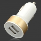 2A Dual USB Car Cigarette Lighter Charger - White + Golden + Multi-Colored