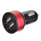 2A Dual USB Car Cigarette Lighter Charger - Black + Red + Multi-Colored