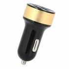2A Dual USB Car Cigarette Lighter Charger - Black + Golden