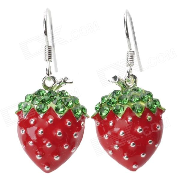 Fashionable Sweet Shiny Rhinestone Studded Strawberry Pendant Earring - Red ladies shiny rhinestone pendant earrings