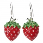 Fashionable Sweet Shiny Rhinestone Studded Strawberry Pendant Earring - Red