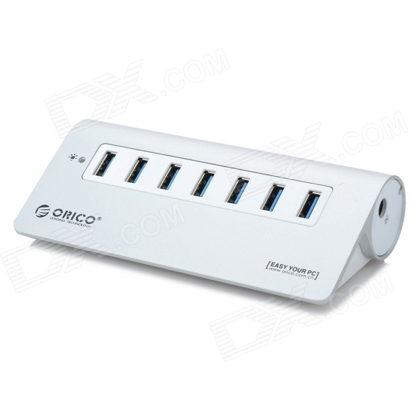 ORICO M3H7 kompakt 7-port høyhastighets USB 3.0 knutepunkt for MacBook - Silver + hvit