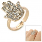 JUQI Stilvolle Glänzende Strass Nieten Hand Ornament Ring - Silber + Golden