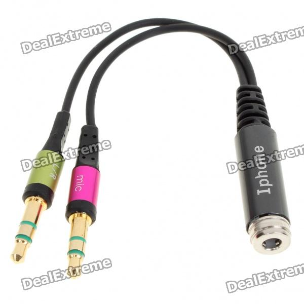 3.5mm 2xMale to 1xFemale Audio Split Y-Cable - Color Assorted (13.5CM-Length)