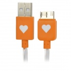 Micro USB 9 Pin oransje lampe Data kabel for Samsung Galaxy Note 3 - Orange + hvit (100 cm)
