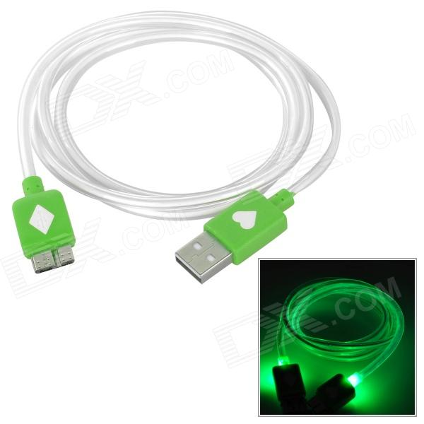 Micro USB 9 Pin Green LED Light Data Cable for Samsung Galaxy Note 3 - Green + White (100 cm) usb to micro usb 3 0 9 pin data charging flat cable for samsung galaxy note 3 n9000 white 200cm