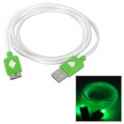 Micro USB 9 Pin Green LED Light Data Cable for Samsung Galaxy Note 3 - Green + White (100 cm)