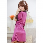 1159 Fashion Ice Silk + Lace Sleepshirts for Women - Purple + Black (Free Size)