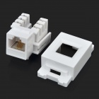 AMP pared Conector modular Teléfono Socket w / Panel Stand - Blanco