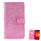 Protective PU Leather + Plastic + Rhinestones Flip-open Case for Samsung Note 3 - Pink