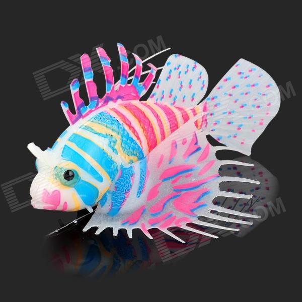 E4YK Realistic Silicone + Plastic Lionfish w/ Suction Cup for Fish Tank - White + Multicolored