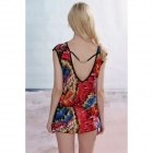 Casual Cotton Beach Swimsuit Dress w/ Waist Belt - Red + Blue + Multi-Colored (Free Size)