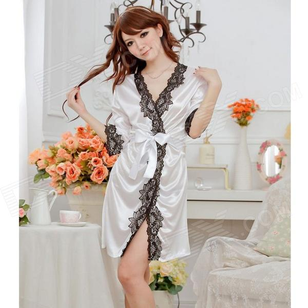 1159 Fashion Ice Silk + Lace Sleepshirts for Women - White + Black (Free Size)