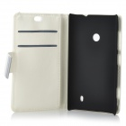 Beskyttende PU skinn + PC Case for Nokia Lumia 525 / Lumia 520 - hvit