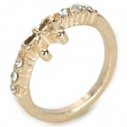 Bowknot Style Diamond Zinc Alloy Finger Ring for Women - Golden
