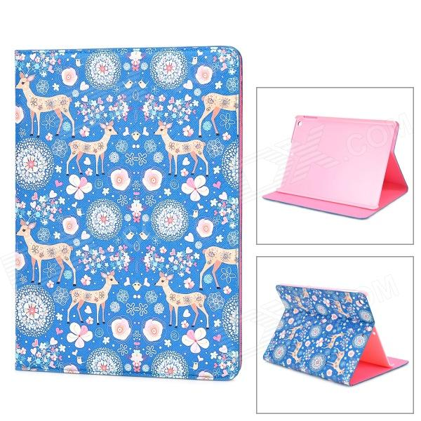 Deer Pattern Protective PU Leather + Plastic Case w/ Stand for IPAD AIR - Blue + Yellow