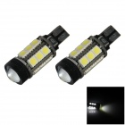 T10 / 921 / W5W 6W 400lm 15-SMD 5050 LED + COB White Car Side Light / Reversing Lamp - (12V / 2 PCS)